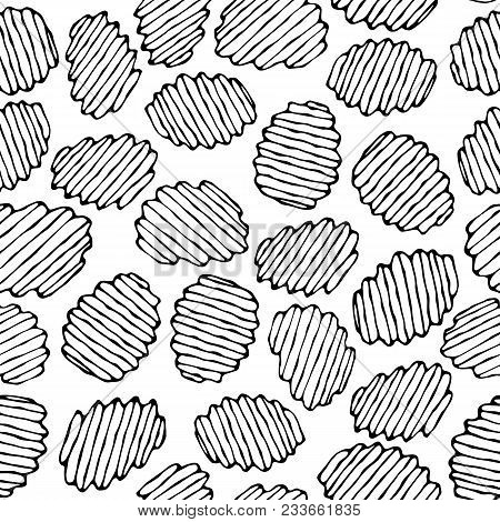 Seamless Of Corrugated Potato Chips.wave Chip. Snack Pattern.. Fried Potatoes. Corrugated Golden Chi