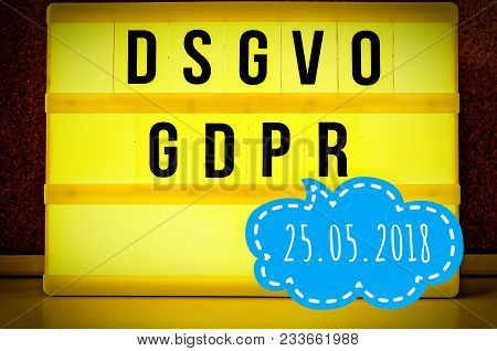Lighted Board With The Inscription Dsgvo And Gdpr (general Data Protection Regulation) Yellow In Eng