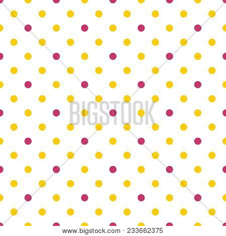 Tile Vector Pattern With Yellow And Pink Polka Dots On White Background
