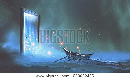 Fantasy Scenery Of The Abandoned Boat On The Shore Near The Mystery Door, Digital Art Style, Illustr