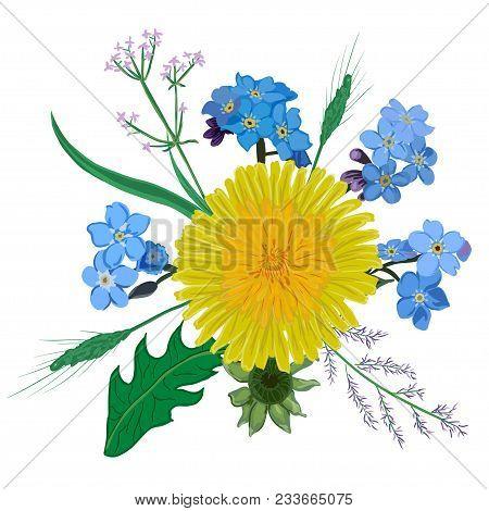 Yellow Dandelion Flower Bouquet. Hand Drawn Wildflowers Yellow Blue Bouquet Eps10