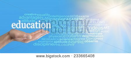 With Education The Sky Is The Limit Word Cloud - Male Open Hand With The Word Education Floating Abo