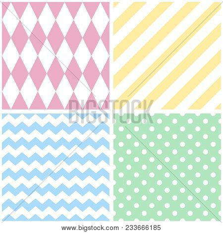 Tile Vector Pattern With Chevron Zig Zag, Polka Dots And Stripe Background