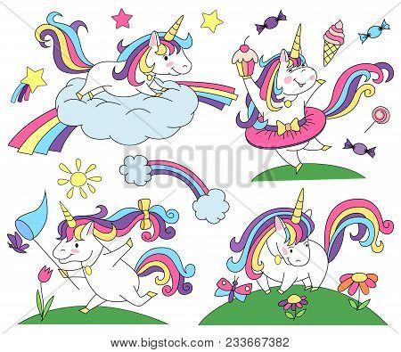 Unicorn Magic Design Element Set. Unicorn Cake. Unicorn With Flowers. Unicorn On Cloud.