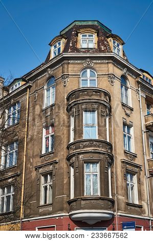 Windows On The Facade Of The Art Nouveau Building In Poznan