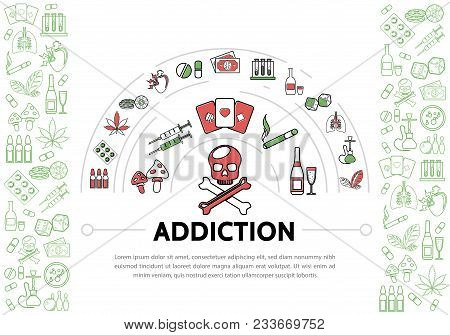 Harmful Addictions Template With Skull Tubes Drugs Tobacco Marijuana Leaves Chips Money Playing Card