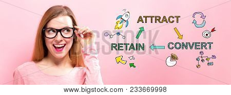 Attract, Convert, Retain With Happy Young Woman Holding Her Glasses