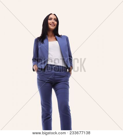 Modern business woman smiling and standing over a white backgrou