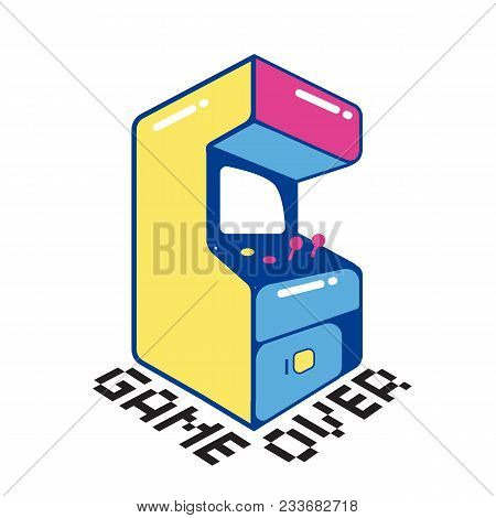 Game Over Game Machine White Background Vector Image