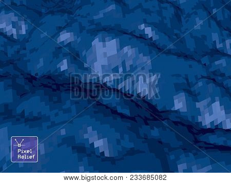Abstract Background With Topographic Landscape Map And Pixelated Structure With Textured Moluntains