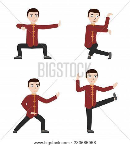 Man Performing Qigong Or Taijiquan Exercises. Man Practicing Tai Chi, Qi Gong. Flat Style. Vector Il