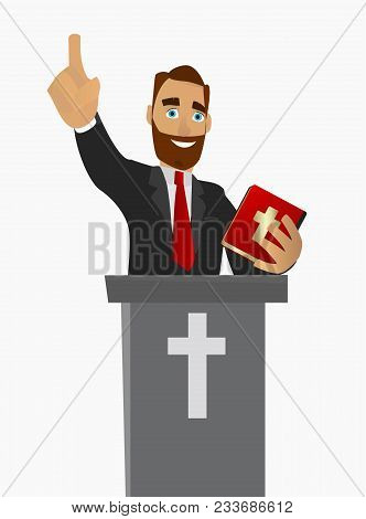 A Christian Priest Gave A Sermon In A Church In Worship. Vector Illustration On White Background Iso