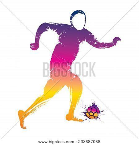 Abstract Colorful Soccer Player Kicking Ball Vector