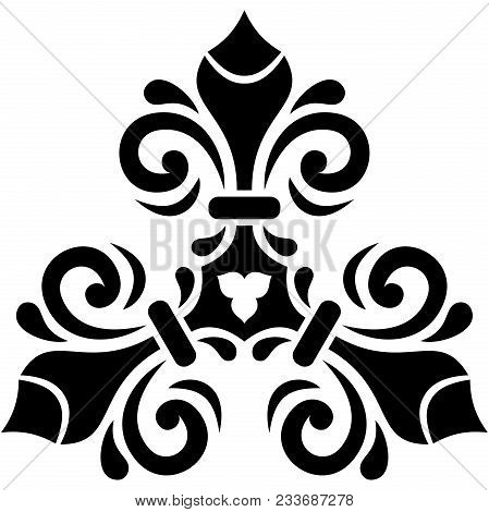 Oriental Black And White Pattern With Arabesques And Floral Elements. Traditional Classic Ornament.