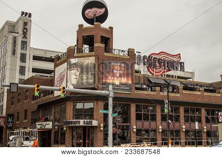 Detroit, Michigan, Usa - March 28, 2018: The Hockeytown Cafe Has Been Voted The Best Sports Bar In D