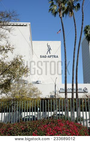 Los Angeles - March 28, 2018: The Sag-aftra Building. The Labor Union Represents About 160,000 Film