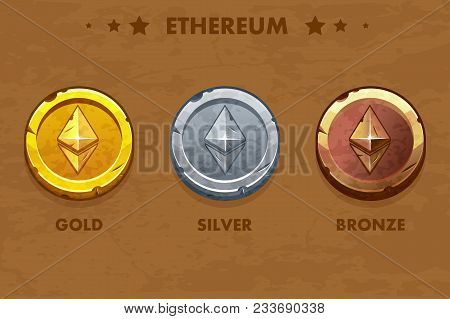 Isolated Gold, Silver And Bronze Ethereum Old Coins. Digital Or Virtual Cryptocurrency. Coin And Ele