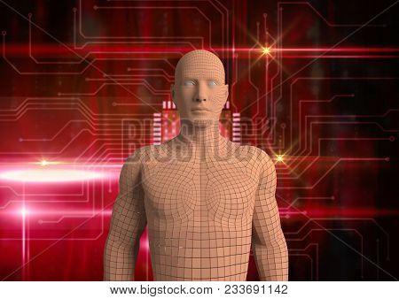 Digital composite of Digital composite image of 3d human over abstract background