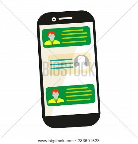 Sending Message. Mobile Chat. Phone With Envelope, Send Button And Notification, Email. Flat Cartoon