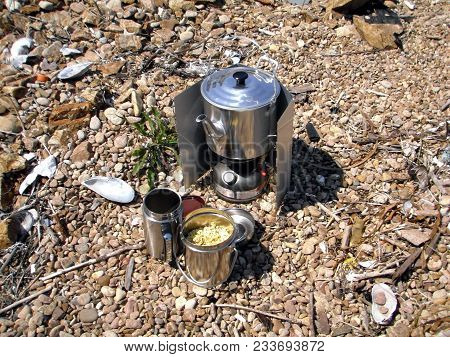 Gas Stove (primus Stove) Boiling Kettle Outdoors