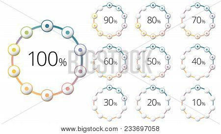 Percentage Circle Diagrams With Colorful Segments. Circular Corporate Percent Infograph Elements. Co