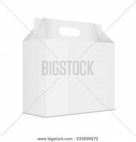 Paper Carton Box With Handle - Half Side View. Vector Illustration