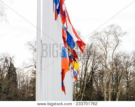 Detail Of Flag Of Russia Flying Half-mast At Council Of Europe As A Tribute And Mourning Of Victims