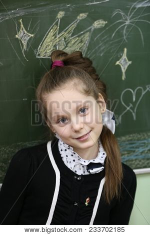 Belarus, Gomel, February 24, 2016, High School Sixty, Open Lesson. Portrait Of A Schoolgirl Of Prima