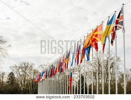 Perspective View Of Flag Of Russia Flying Half-mast At Council Of Europe As A Tribute And Mourning O