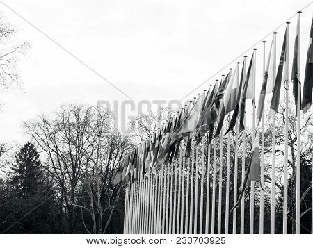 Black And White Of Flag Of Russia Flying Half-mast At Council Of Europe As A Tribute And Mourning Of