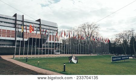 Strasbourg, France - Mar 29, 2018: Council Of Europe Building With Flag Of Russia Flying Half-mast A