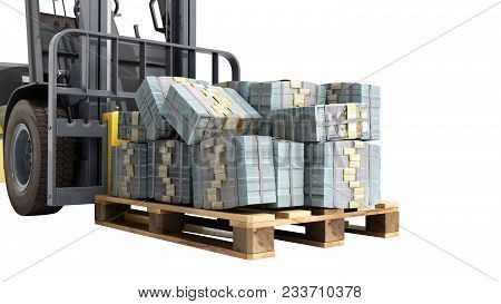Stack Of Dollar Money Bills On Wooden Pallet With A Forklift Loader 3d Render On A White Background
