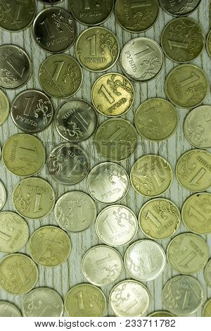 Russian Coins Texture, Considerable Quantity Of Coins, Russian Money Rouble, A Set Of 10 And 50 Russ
