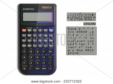 Scientific Calculator With Solar Cell In Pearlescent Color. Calculator And Screen Symbols Isolated O