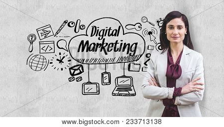 Digital composite of image of businesswoman standing arms crossed by digital marketing text and icons