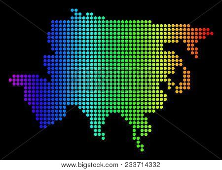 Dotted Pixelated Asia Map. Vector Geographic Map In Bright Spectrum Colors On A Black Background. Mu