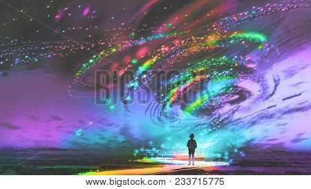 Little Girl Standing In Front Of Fantasy Cosmic Storm, The Black Tornado With Colorful Stars, Digita