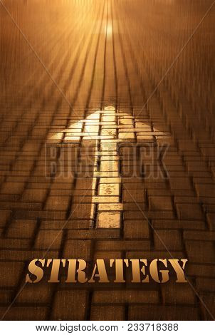 Strategy Concept With Arrow. Strategy Word Written On Road At The Sunset. Motion To Infinity. Concep