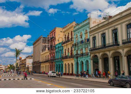 Street Near The Capitolio Nacional, El Capitolio. Havana, Capital Of Cuba.