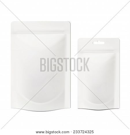White Blank Foil Doy Bag Packaging With Zipper. Eps10 Vector