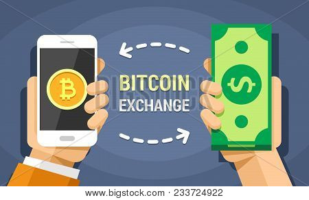 Hand Holding Mobile Phone With Bitcoins And Cash Vector Flat Colored Illustration. Exchange The Doll