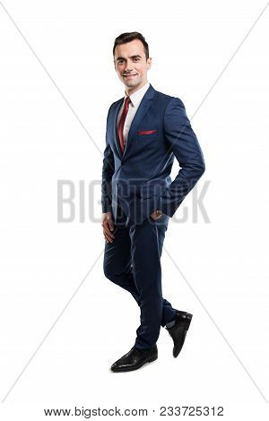 Full Body Of Attractive Business Man Posing With Hand In Pocket