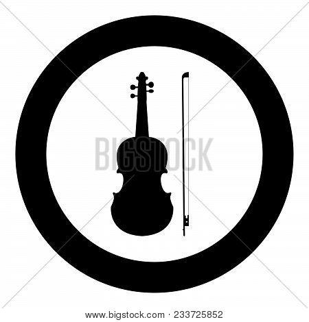 Violin Icon Black Color In Circle Vector Illustration