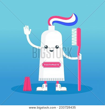 Cute Happy Smiling Tube With Toothpaste And Toothbrush. Flat Vector Cartoon Character Illustration.