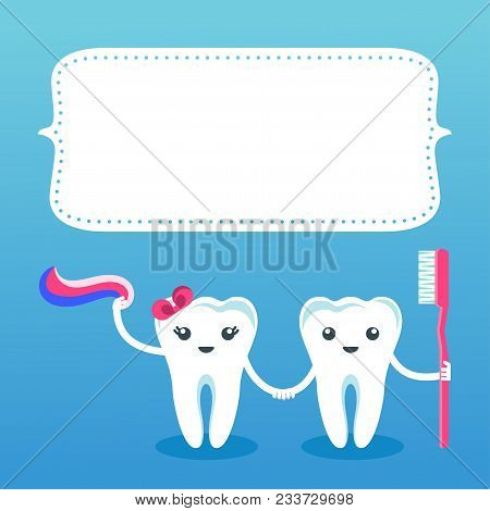Postcard With Cute Happy Smiling Teeth. Flat Vector Cartoon Character Illustration. Care Of Teeth. D