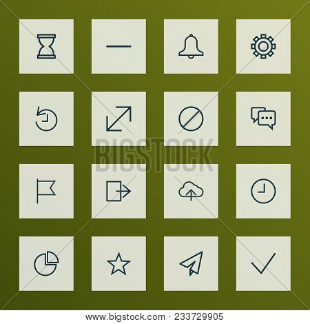 Interface Icons Line Style Set With Enlarge, Origami, Watch And Other Ban Elements. Isolated  Illust