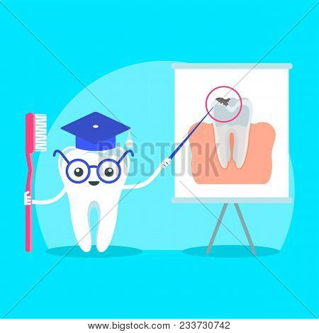 Cute Happy Smiling Teacher Shows Poster With Damaged Tooth. Flat Vector Cartoon Character Illustrati