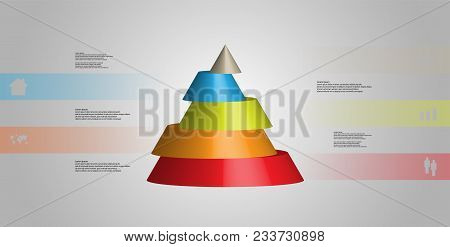 3d Illustration Infographic Template With Motif Of Horizontally Sliced Cone To Five Green Parts Whic
