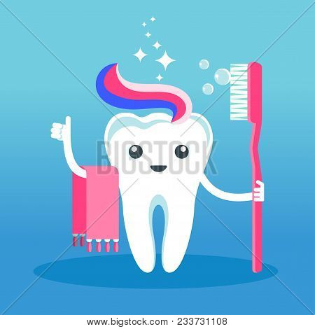 Cute Happy Smiling Tooth Washing With A Toothbrush . Flat Vector Cartoon Character Illustration. Car