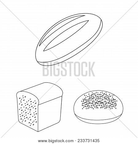 Types Of Bread Outline Icons In Set Collection For Design. Bakery Products Vector Symbol Stock  Illu